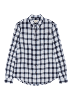 [Men] Slim BD Linen check