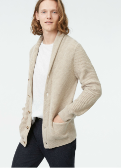 [Men] Plaited shawl cardi