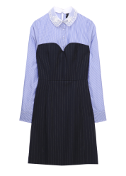 Lace collar stripe dress