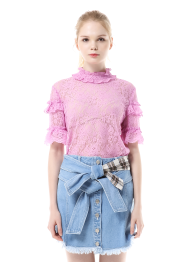Frill lace short sleeve top