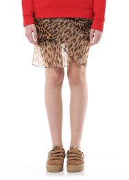 Leopard pleats detail mini skirt