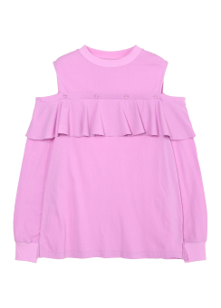 Frill button sweatshirt