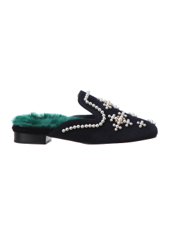 Beads detail fur mule slippers