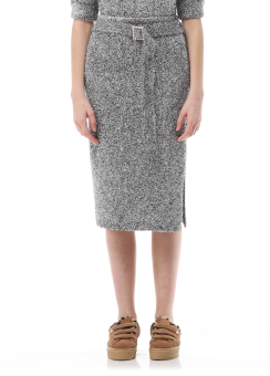 Metal knit mid skirt