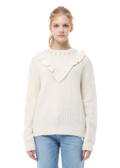 Beads neck detail knit pullover