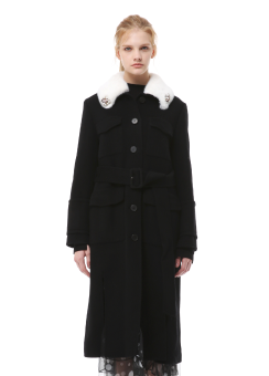 Fut collar long coat