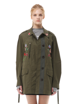 Flower embroidery utility jacket