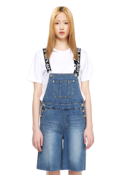 Denim overall short pants