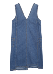Unbalanced sleeveless denim dress