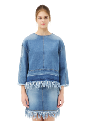 Denim top w.fringe trim blouse