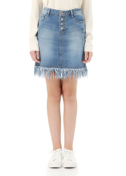 Mini denim skirt w.fringe