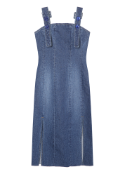 Spangle button denim dress