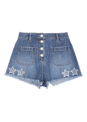 Star embroidery shorts