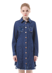 Spangle detail denim dress