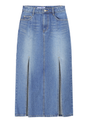 Front slits denim skirt