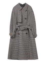Check wool trench coat