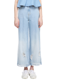 Destroyed high rise wide jean