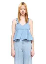 Denim buckle bustier blouse