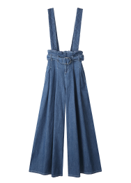 Denim suspender belt pants
