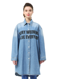 Front printed oversized denim blouse