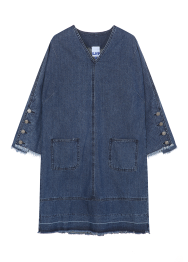 Sailor button denim dress