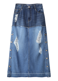 Side button two tone denim skirt