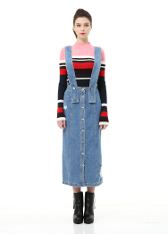 Suspender denim long skirt