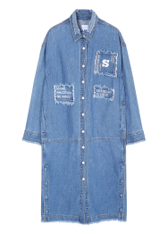 Denim patch long shirts