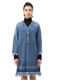 Denim dress w.fringe