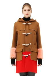 Fur cuff duffle coat