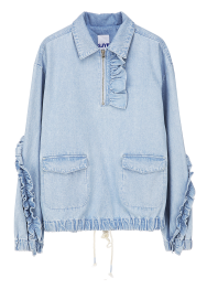Frill denim top