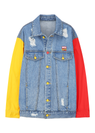 Marvel color sleeves denim jacket