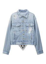 Back scarf detailed denim jacket