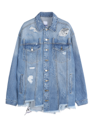 Destroyed scraf strap denim jacket