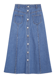 Front button denim long skirt