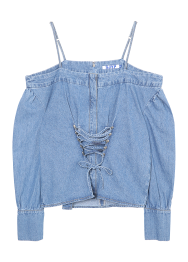 Shoulder cut string denim blouse