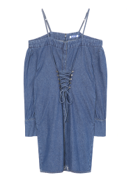Shoulder cut string denim dress
