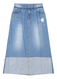 Roll up denim long skirt