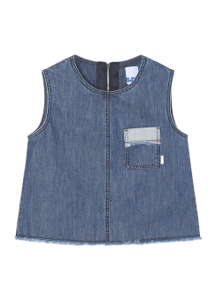 Denim pocket sleeveless crop top