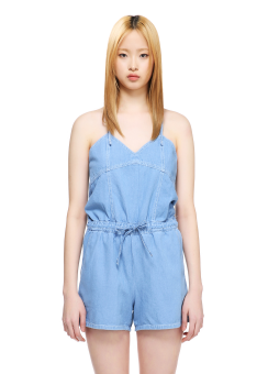 Denim strappy overall short pants