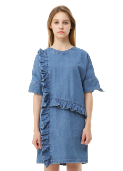 Denim frill detail dress