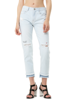 Embroidery front cut denim