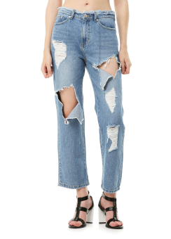 Destroyed cut out jeans