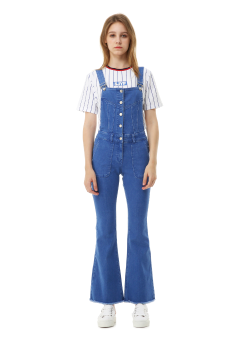 Cut off boots cut overall jeans