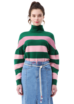 Stripe turtle neck knit top