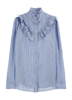 Stripe neck frill blouse