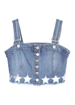 Star embroidery bustier denim top