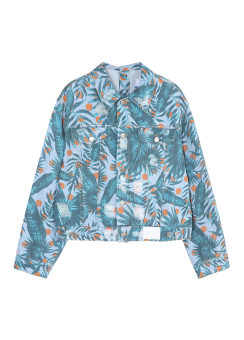 Hawaiian print denim jacket