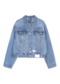 Back button denim jacket