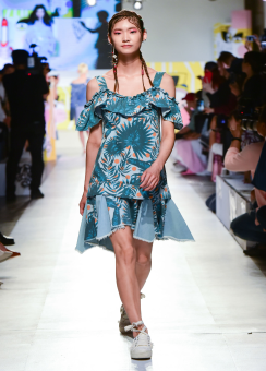 Hawaiian print denim dress